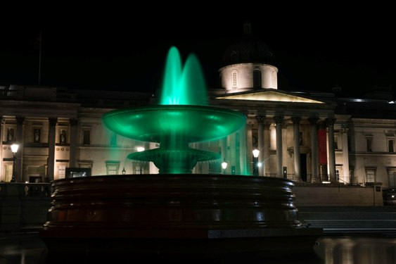 TRAFALGAR SQUARE FOUNTAINS, LONDON, JOIN TOURISM IRELAND'S GLOBAL GREENING