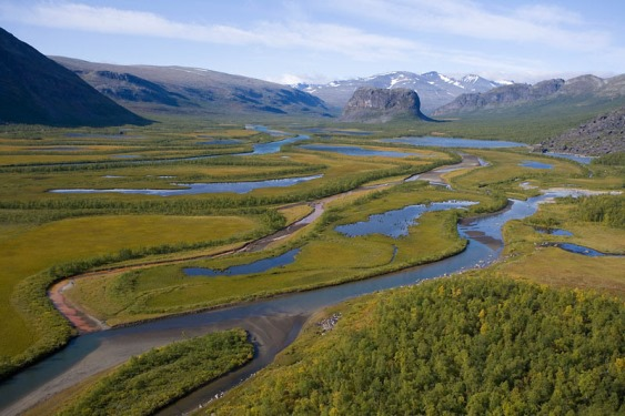 Aerial view of the Laitaure delta, Rapadalen valley, Skierffe and Nammatj mountains, Sarek National Park, Laponia World Heritage Site, Lapland, Sweden, September 2008